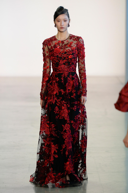 Badgley Mischka длинное кружевное платье 2019 красно-черного цвета с набивными цветами