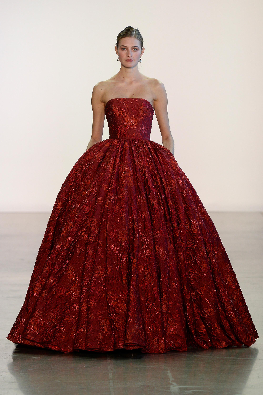 Badgley Mischka платье принцессы декольте 2019 красного цвета