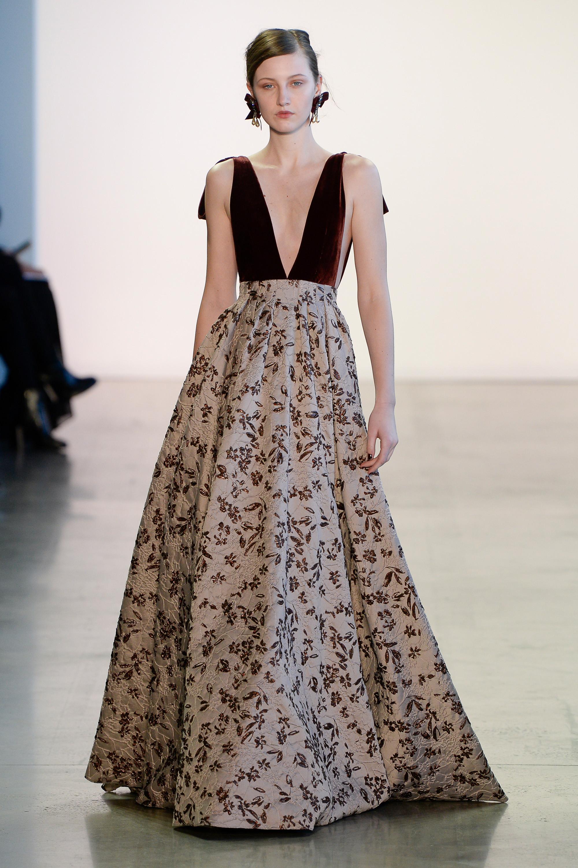 Badgley Mischka длинное платье с глубоким вырезом и пышной юбкой 2019 с цветочным принтом