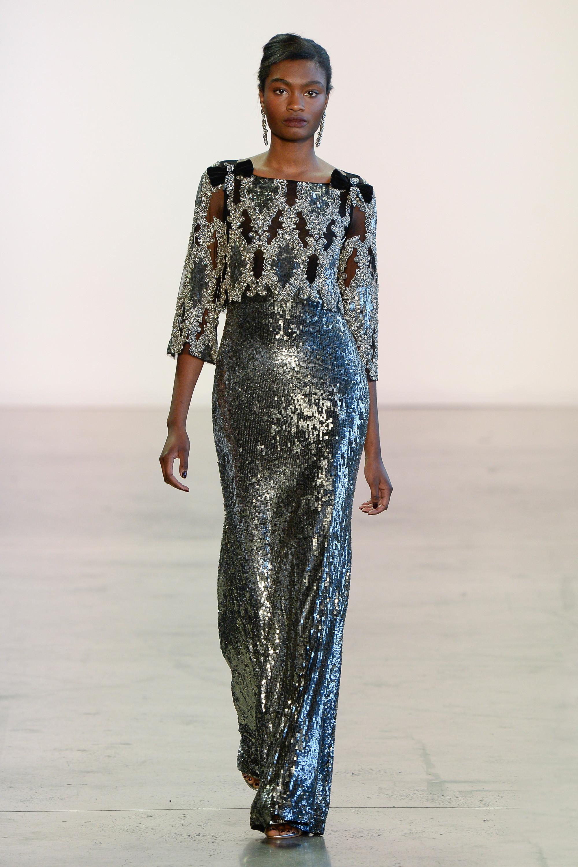 Badgley Mischka длинное серебристое платье 2019 с пайетками и вышивкой камнями