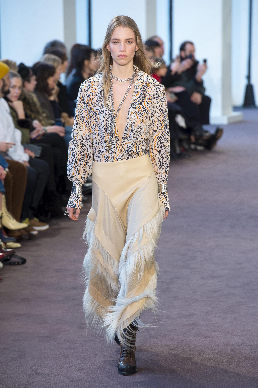 Chloé модная многоцветная блузка 2019 с глубоким вырезом