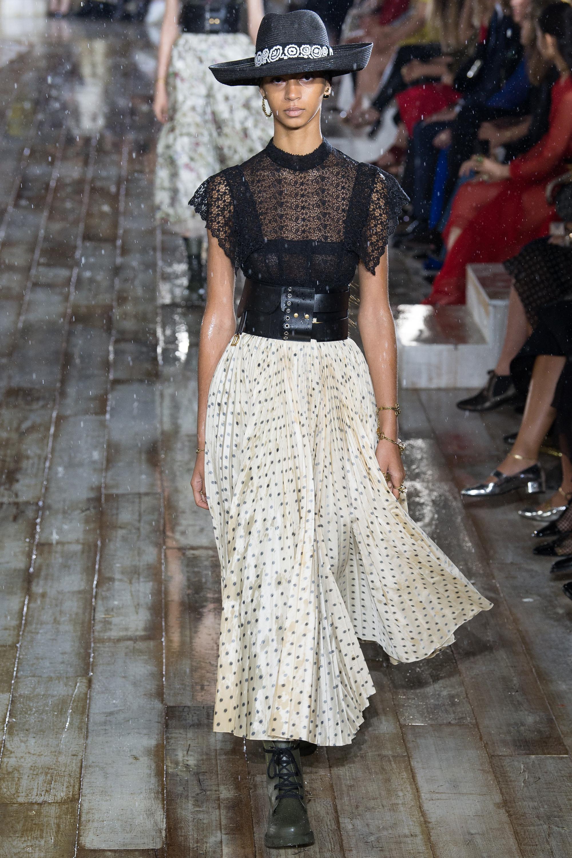 Christian Dior модная кружевная блузка 2019 черного цвета