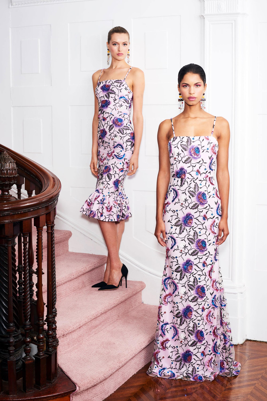 Christian Siriano длинное платье с цветочным принтом 2019 на тонких бретельках