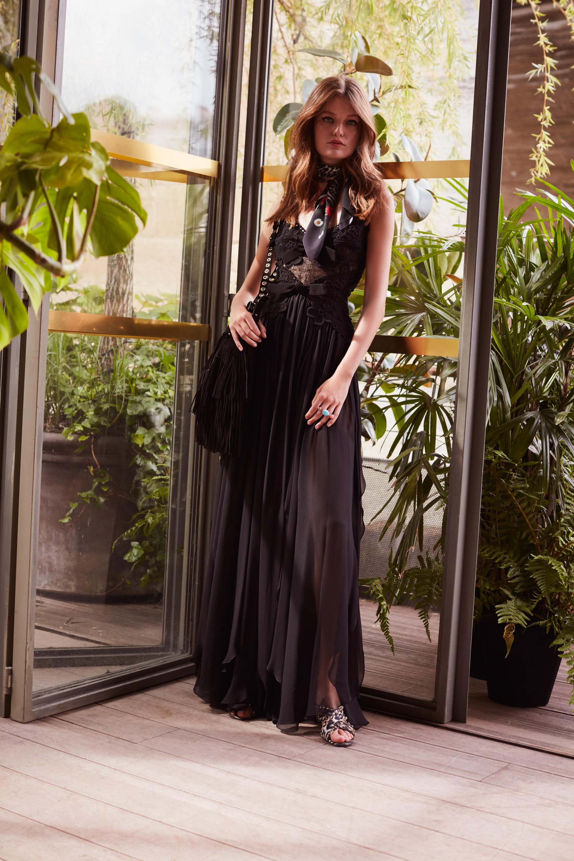 Elie Saab черное платье в пол 2019 скружевным лифом