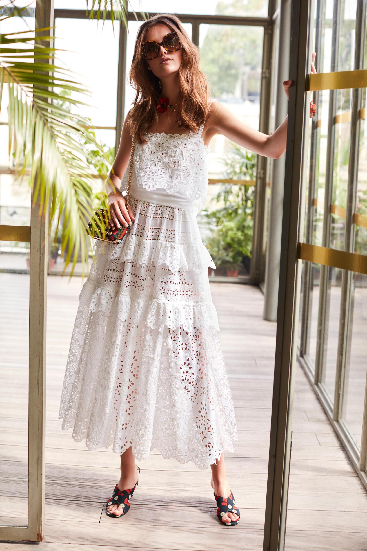 Elie Saab белое расклешенное кружевное платье 2018-2019