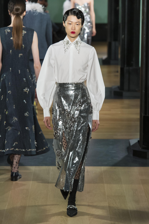 Erdem модная блузка 2019 с вишитым воротником
