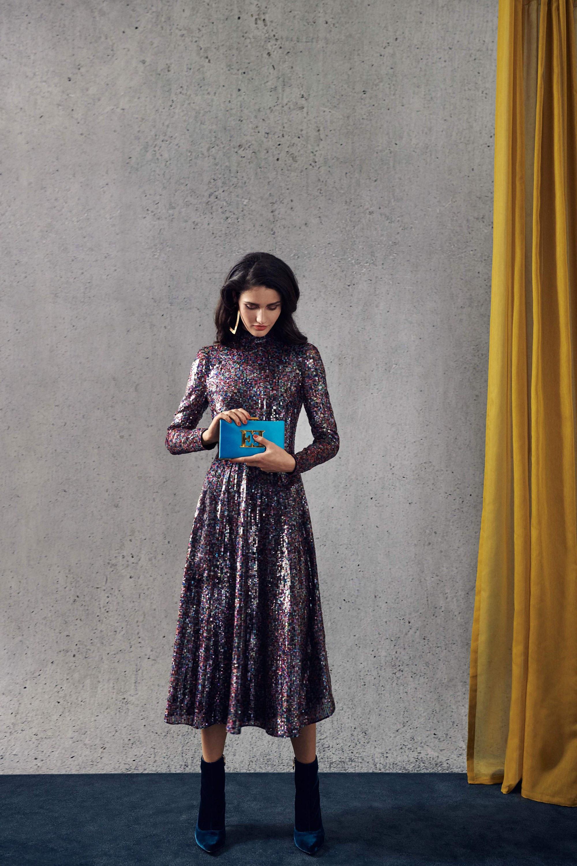 Escada расклешенное блестящее платье с принтом 2018-2019