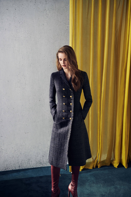 Escada элегантное приталенное пальто 2019 в клетку