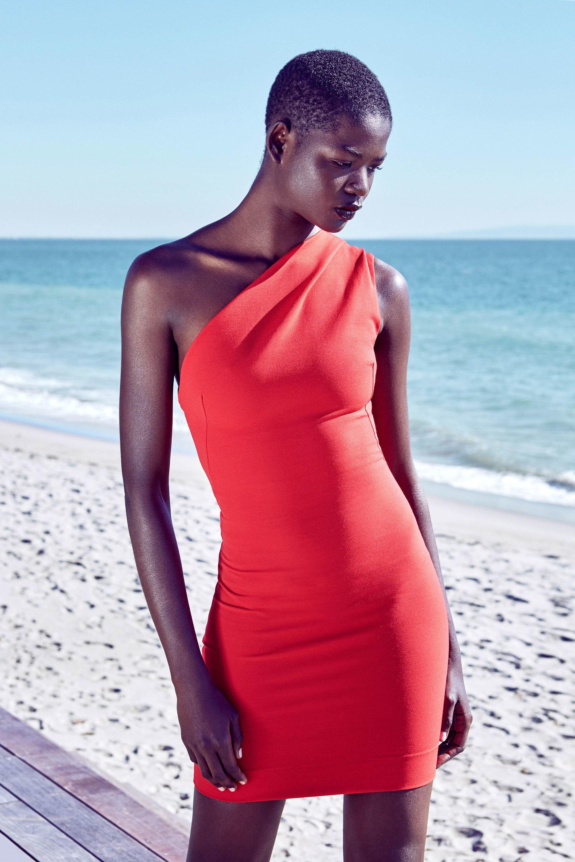 HANEY короткое ассиметричное обтягивающее платье 2019 оранжевого цвета