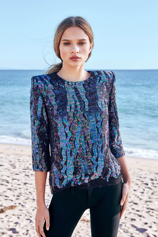 HANEY модная блузка 2019 сине-голубого цвета с пайетками