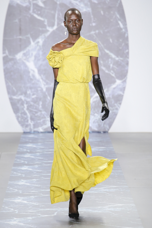 Hellessy длинное платье ярко желтого цвета 2018-2019