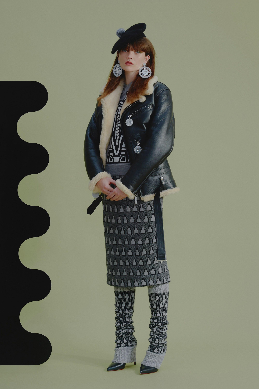 Holly Fulton черная куртка-дубленка 2019 с белым мехом