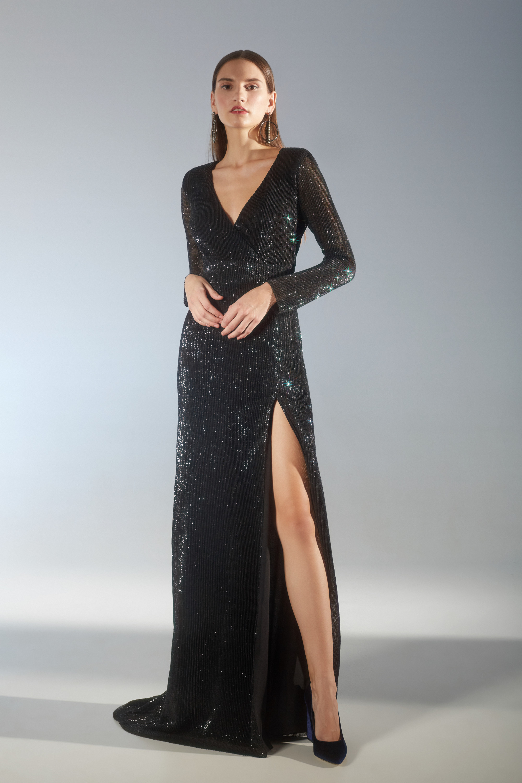 House of Fame черное длинное платье с серебристым блеском 2019 с длинным разрезом