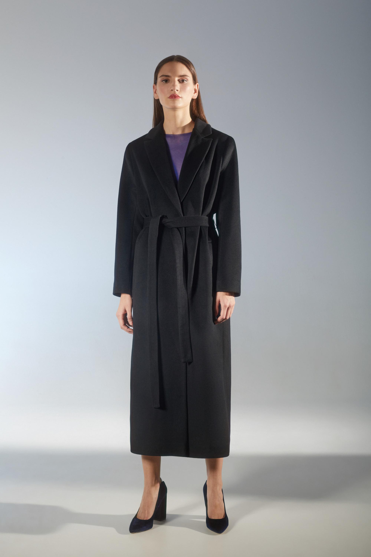 House of Fame прямое длинное пальто 2019 черного цвета