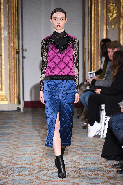 Huishan Zhang модная юбка синего цвета 2019с большим разрезом