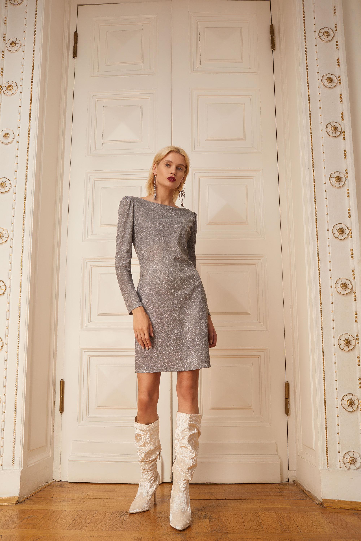 Incity короткое платье 2019 серного цвета