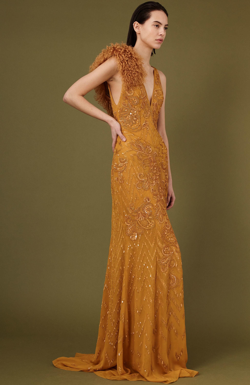 J. Mendel длинное платье светло-оранжевого цвета расшитое стразами 2019 с глубоким вырезом2019