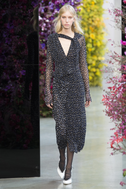 Jason Wu черное платье из легкой прозрачной ткани с длинными рукавами 2018-2019