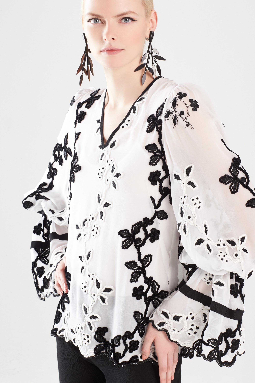 Josie Natori модная кружевная блузка 2019 черно-белого цвета