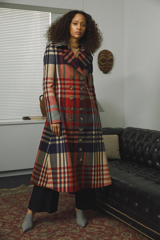 Khaite яркое расклешенное клетчатое пальто 2019 с большим количеством пуговиц