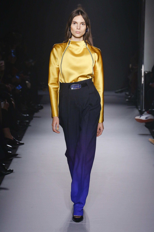 Lanvin модная атласная блузка 2019 желтого цвета