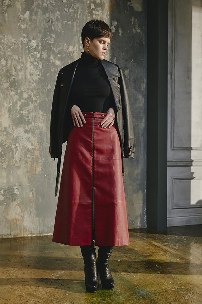 Laroom модная длинная кожаная юбка 2019 на молнии