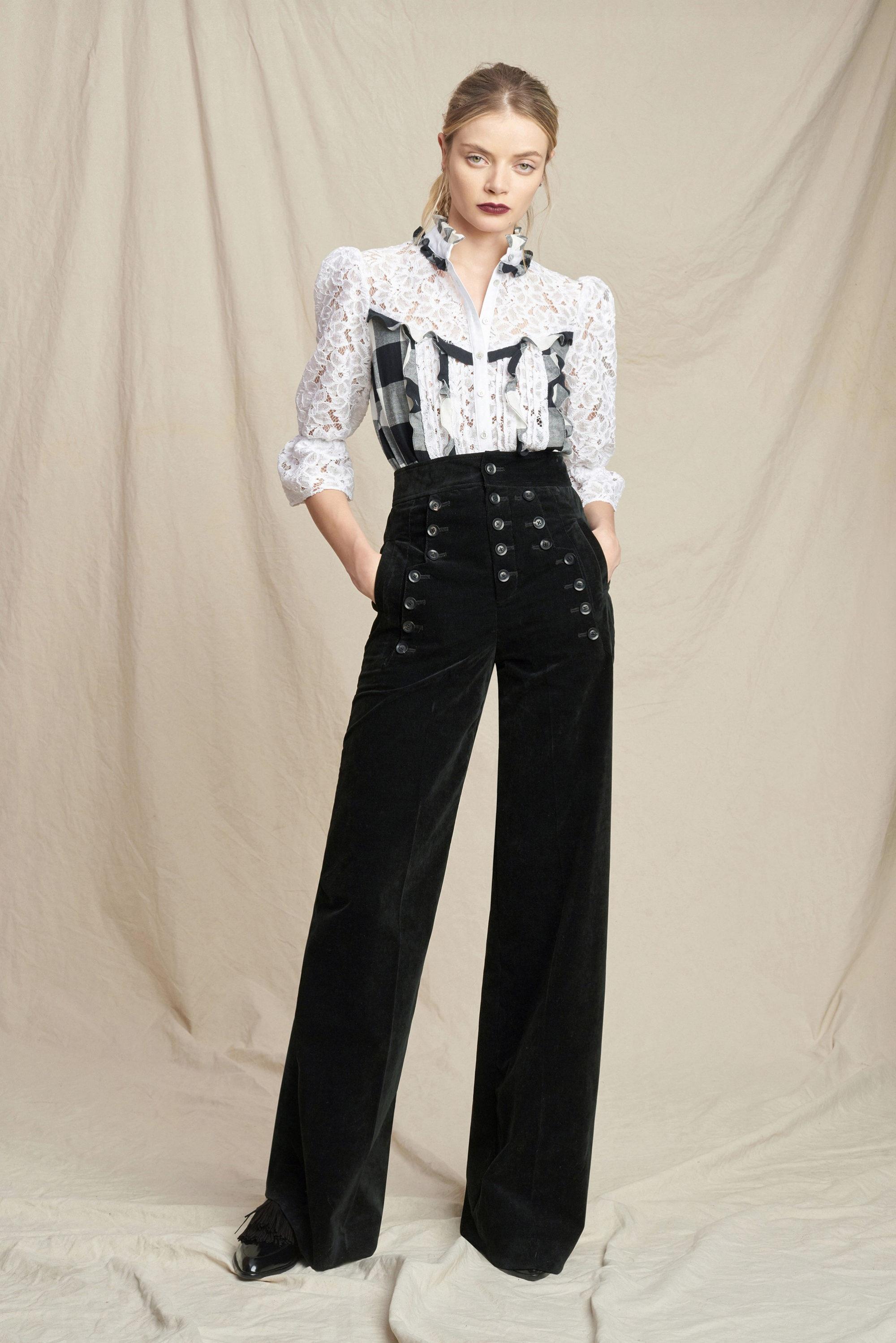 Marissa Webb модная кружевная блузка 2019 бело-черного цвета