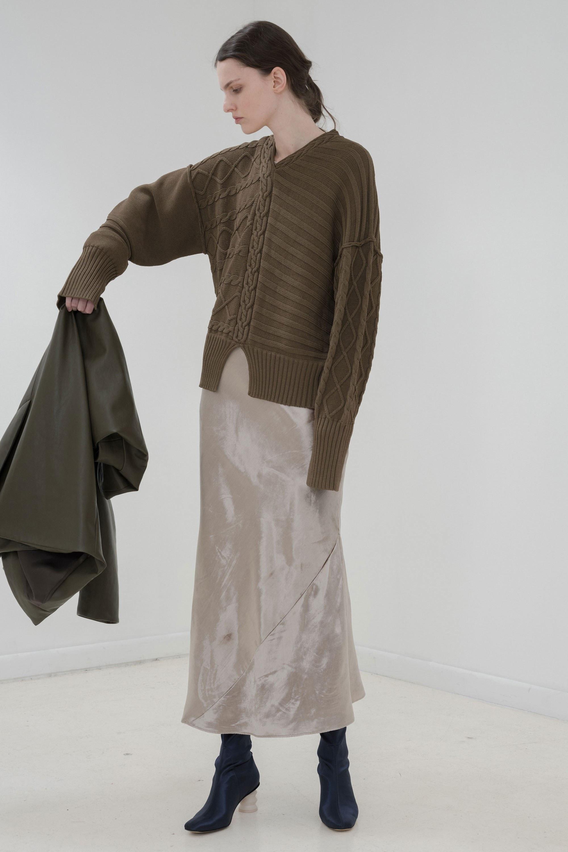 Nomia кофта крупной вязки 2019 с длинными рукавами болотного цвета