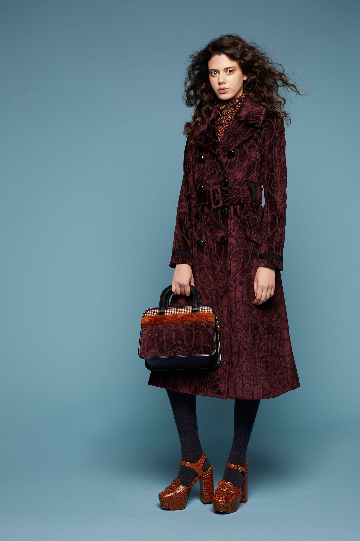 Orla Kiely пальто из гобелена 2019 благородного бордового цвета