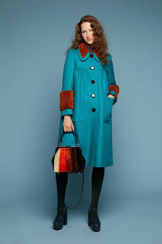 Orla Kiely оригинальное палтьо 2019 ярко-синего цвета с меховыми манжетами и воротником