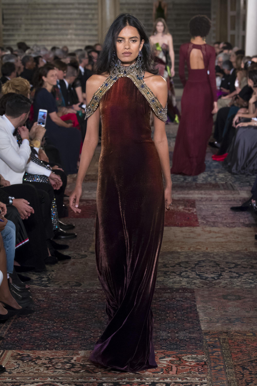Ralph-Lauren длинное бархатное платье 2019 с расшитым стразами американской проймой