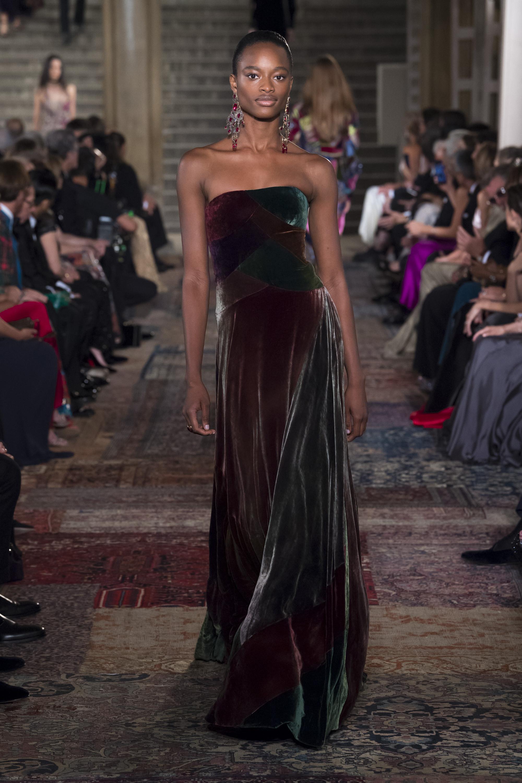 Ralph-Lauren длинное платье декольте 2019 бордово-зеленого цвета