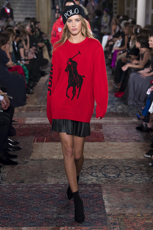 Ralph-Lauren кофта ярко-красного цвета 2019 с надписью и принтом в виде человека на лошади