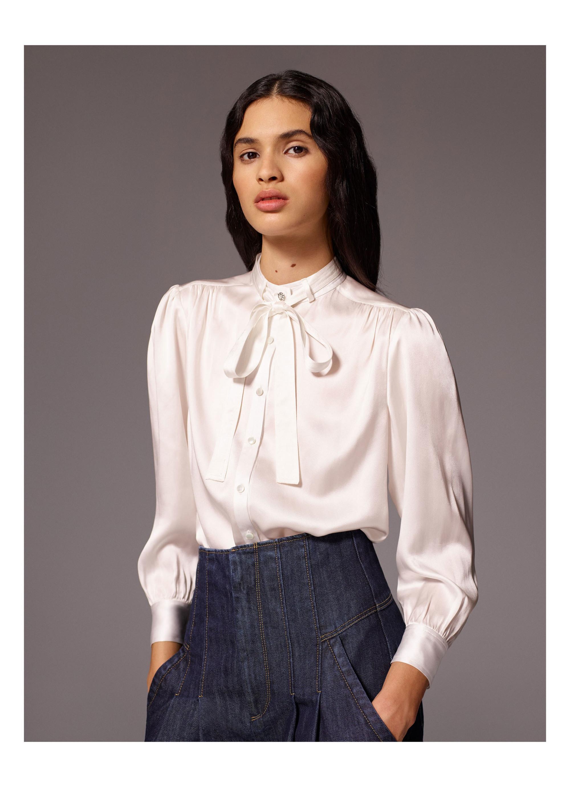 Rebecca Taylor модная блузка 2019 белого цвета с бантом