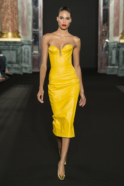 Brandon Maxwell ярко-желтое вечернее обтягивающее платье 2019 декольте.