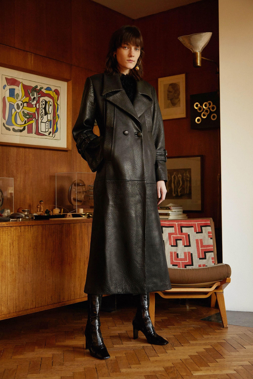Sid Neigum кожаное пальто 2019 черного цвета с большим отложным воротником