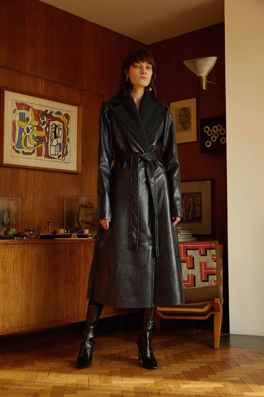 Sid Neigum кожаное пальто 2019 черного цвета с поясом