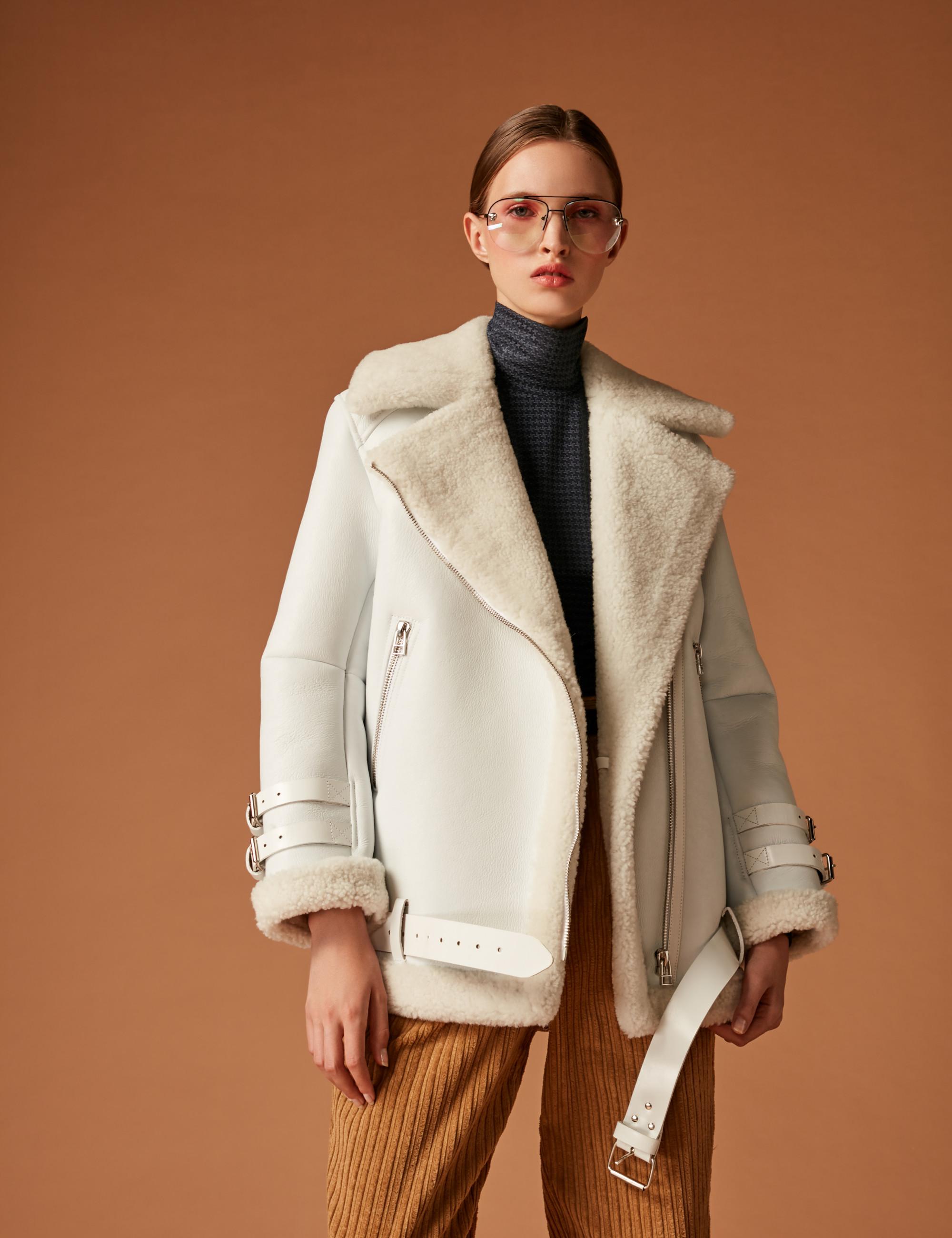 Soeasy белая куртка-дубленка 2019 с большим отложным воротником