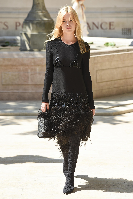 Sonia Rykiel черное платье 2019 с пайетками и бахромой