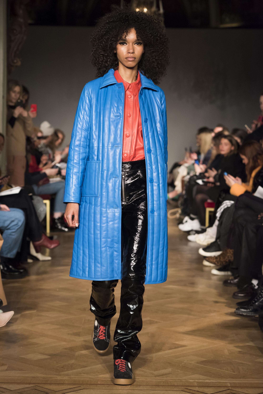 Stand стеганное кожаное пальто 2019 голубого цвета