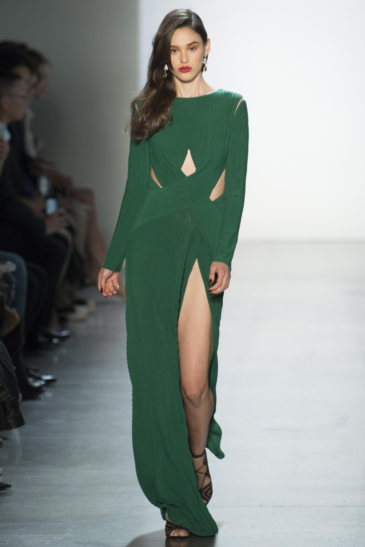 Tadashi Shoji зеленого цвета длинное платье 2019 с большим разрезом
