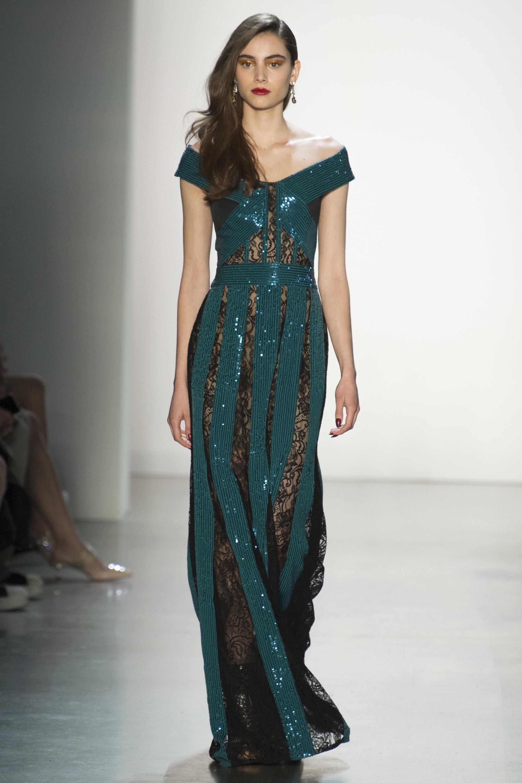 Tadashi Shoj зеленое длинное платье с блестящим отливом 219 с черным кружевом
