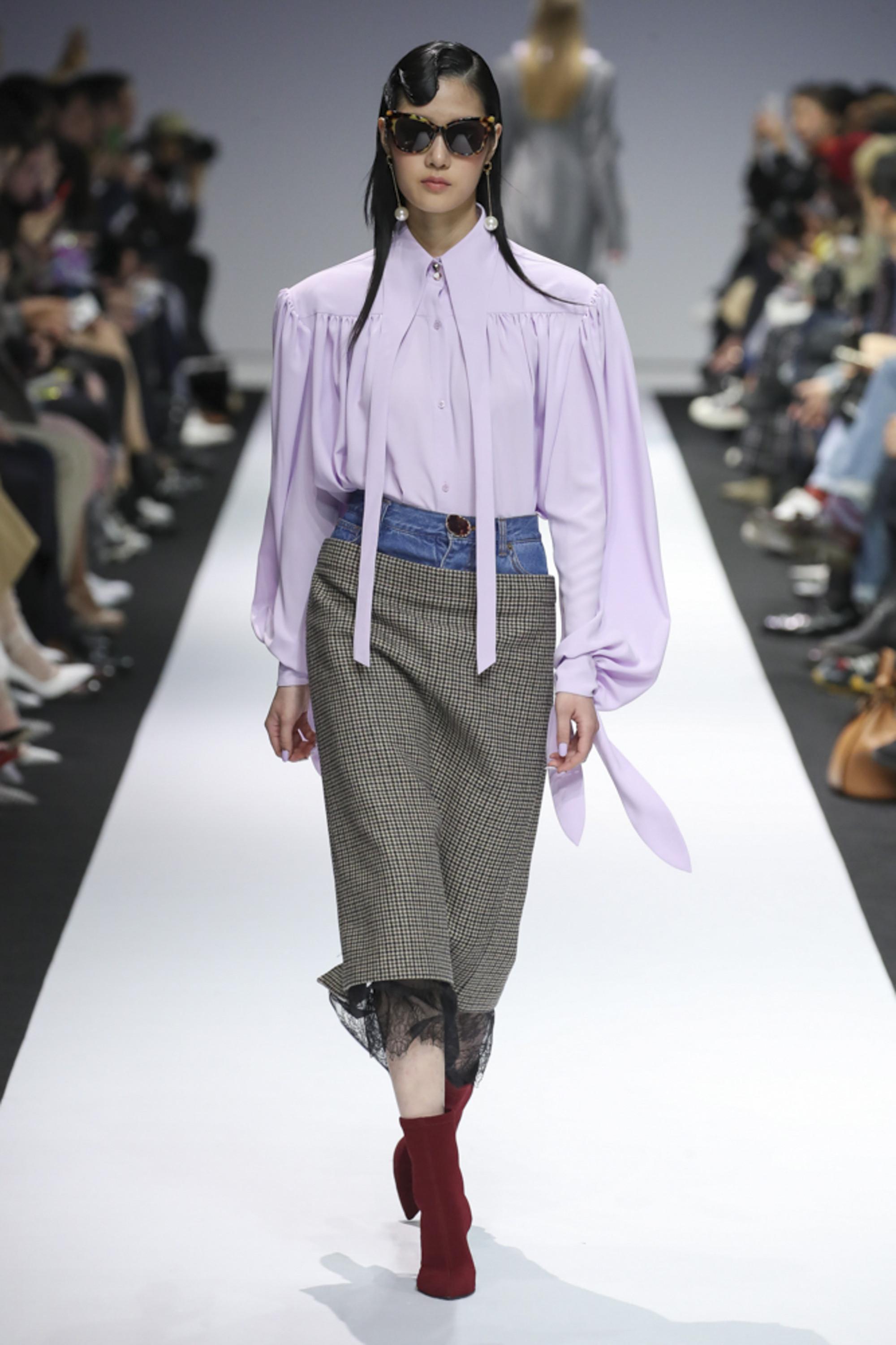 YCH модная блузка 2019 нежного бледно-фиолетового цвета
