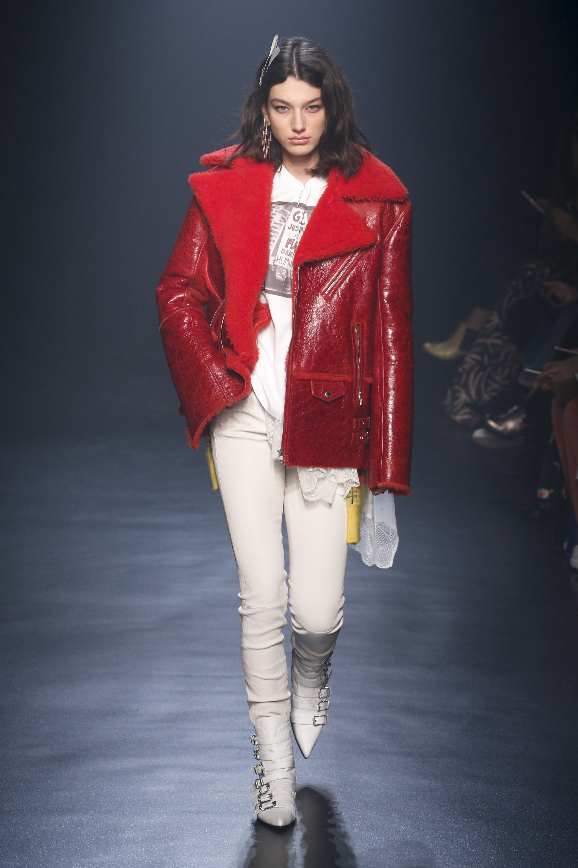 Zadig & Voltaire красная лакированная куртка-дубленка 2019 с большим отложным воротником