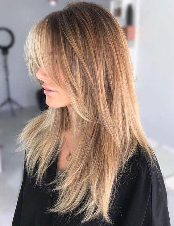 Рваный каскад для длинных волос, идеальная длинная стрижка для женщин 40 лет