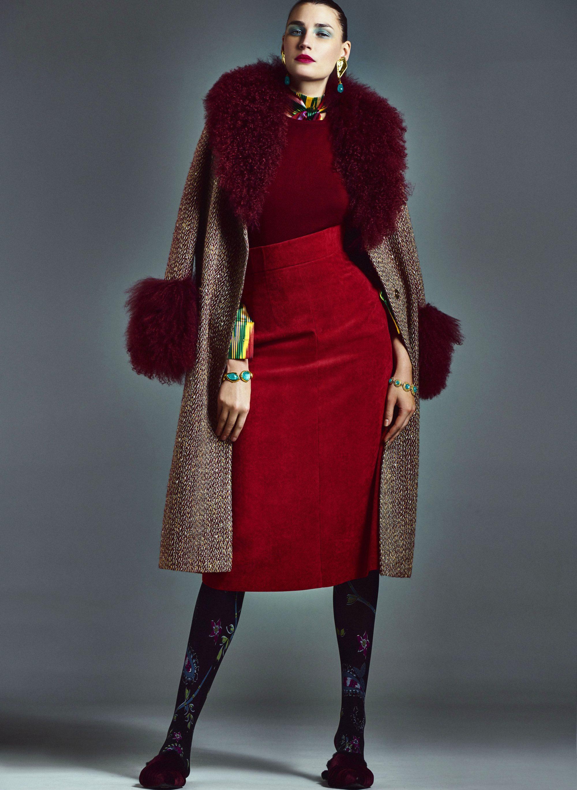 A La Russe Anastasia Romantsova роскошное пальто с красным мехом 2019