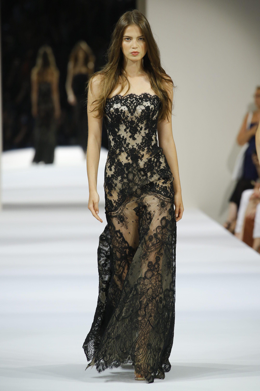 Alexis Mabille черное кружевное платье декольте 2019