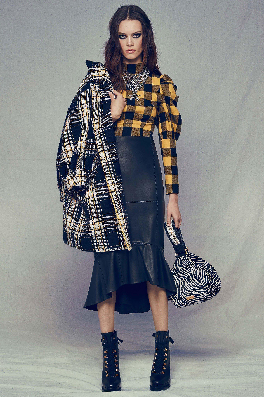 Alice Olivia юбка ниже колена с рюшами и рубашка в клетку 2019 фото женской моды