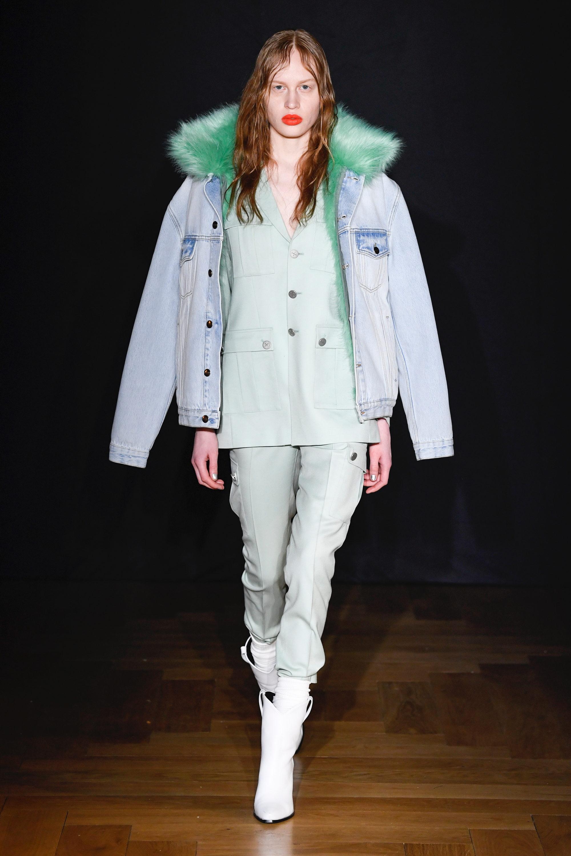 Each x Other джинсовая куртка 2019 с воротником зеленого цвета