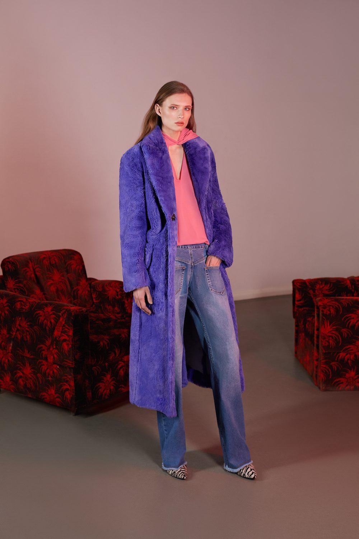 Elenareva фиолетовая шуба 2019 из искусственного меха